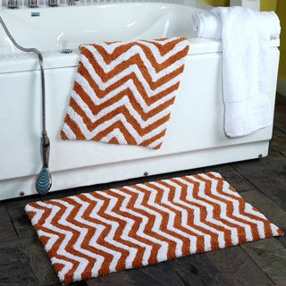 100 Percent Cotton 2 Piece Chevron Plush Bath Rugs   17 X 24