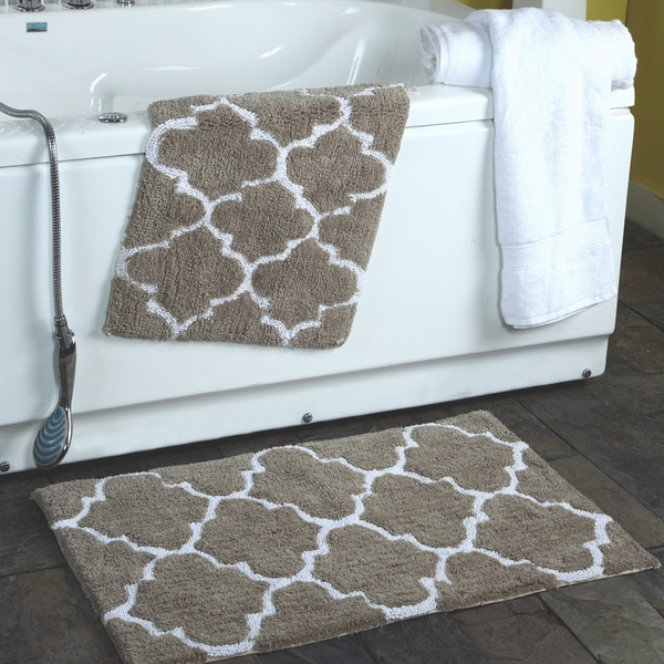 Perfect 2 Piece Moroccan Trellis 100 Percent Cotton Bath Rug Set   21 X 34
