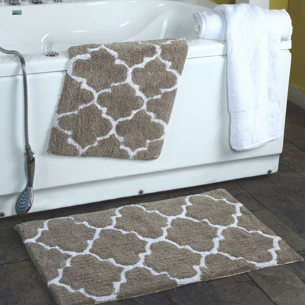 Shop 2 Piece Moroccan Trellis 100 Percent Cotton Bath Rug