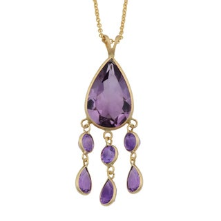 Fremada 14k Yellow Gold Amethyst Drop Necklace (18 inches)