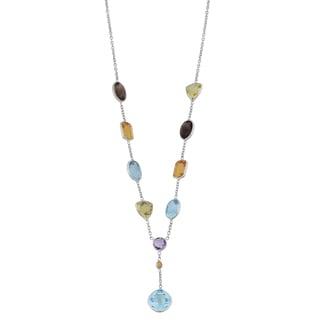 Fremada 14k White Gold Multi Semi Precious Stones Drop Necklace (17 inches)