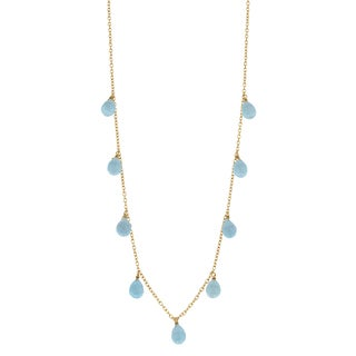 Fremada 14k Yellow Gold Blue Topaz Briolette Cleo Necklace (16 inches)