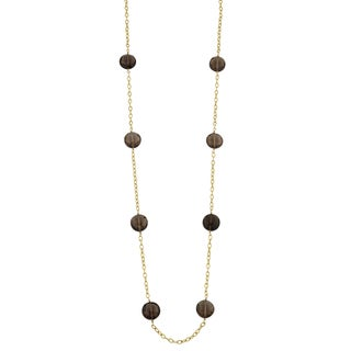 Fremada 14k Yellow Gold Smoky Quartz Station Necklace (25 inches)
