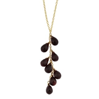 Fremada 14k Yellow Gold Garnet Briolette Lariat Necklace (16 inches)