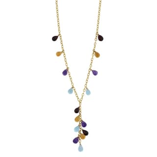 Fremada 14k Yellow Gold Multi Semi Precious Briolette Gemstones Lariat Necklace (17 inches)