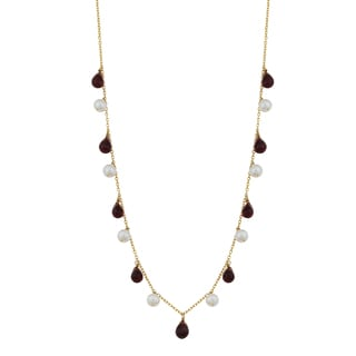 Fremada 14k Yellow Gold Alternate Briolette Garnet and Pearl Cleopatra Necklace (16 inches)