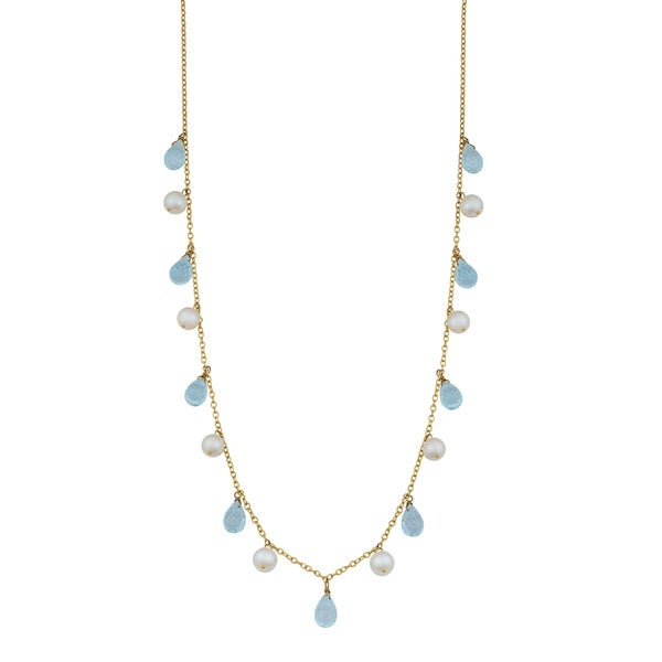 Blue Topaz And Pearl Necklace: Shop Fremada 14k Yellow Gold Alternate Briolette Blue