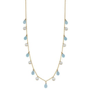 Fremada 14k Yellow Gold Alternate Briolette Blue Topaz and Pearl Cleopatra Necklace (16 inches)