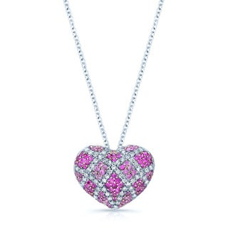 18k White Gold Pink Sapphire 2/5ct TDW Diamond Necklace (H-I, SI1-SI2)