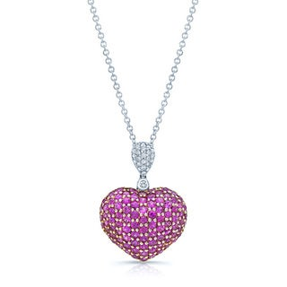 18k White Gold Pink Sapphire 1/10ct TDW Diamond Necklace (H-I, VS1-VS2)