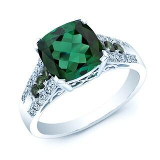 14k White Gold Created Emerald 1/4ct TDW Diamond Ring (H-I, VS1-VS2)