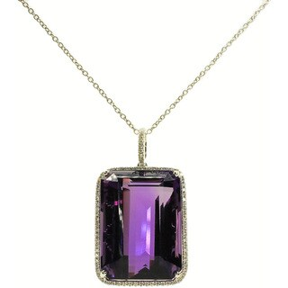 Kabella 14k White Gold Amethyst and 1/3ct TDW Diamond Pendant (G-H, SI2-SI3)