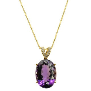 Kabella 14k Yellow Gold Oval Amethyst and Diamond Accent Pendant (G-H, SI2-SI3)