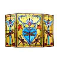 Chloe Victorian Style Dragonfly Design 3-panel Decorative Fireplace Screen