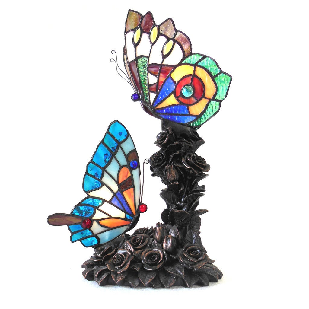 Chloe Tiffany Style Butterfly Design 2-light Bronze Table...