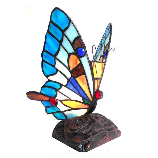 Chloe Tiffany Style Butterfly Design 1-light Bronze Accent Lamp/Night Light