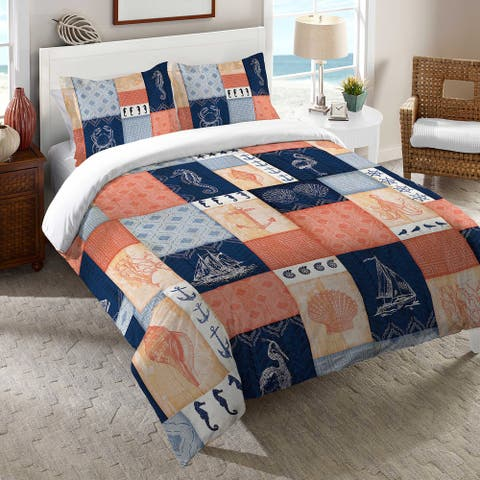 Laural Home Navy and Coral Coastal Patchwork Duvet Cover