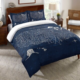 Blue Typographic US Map Duvet Cover