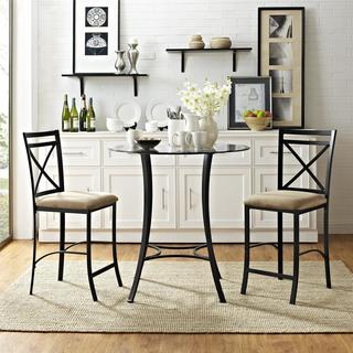 Avenue Greene Delancey 3 piece Counter Height Glass and Metal Dining Set