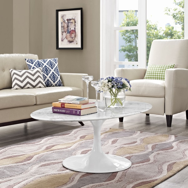 Shop Lippa OvalShaped Artificial Marble Coffee Table On Sale - Oval shaped marble coffee table
