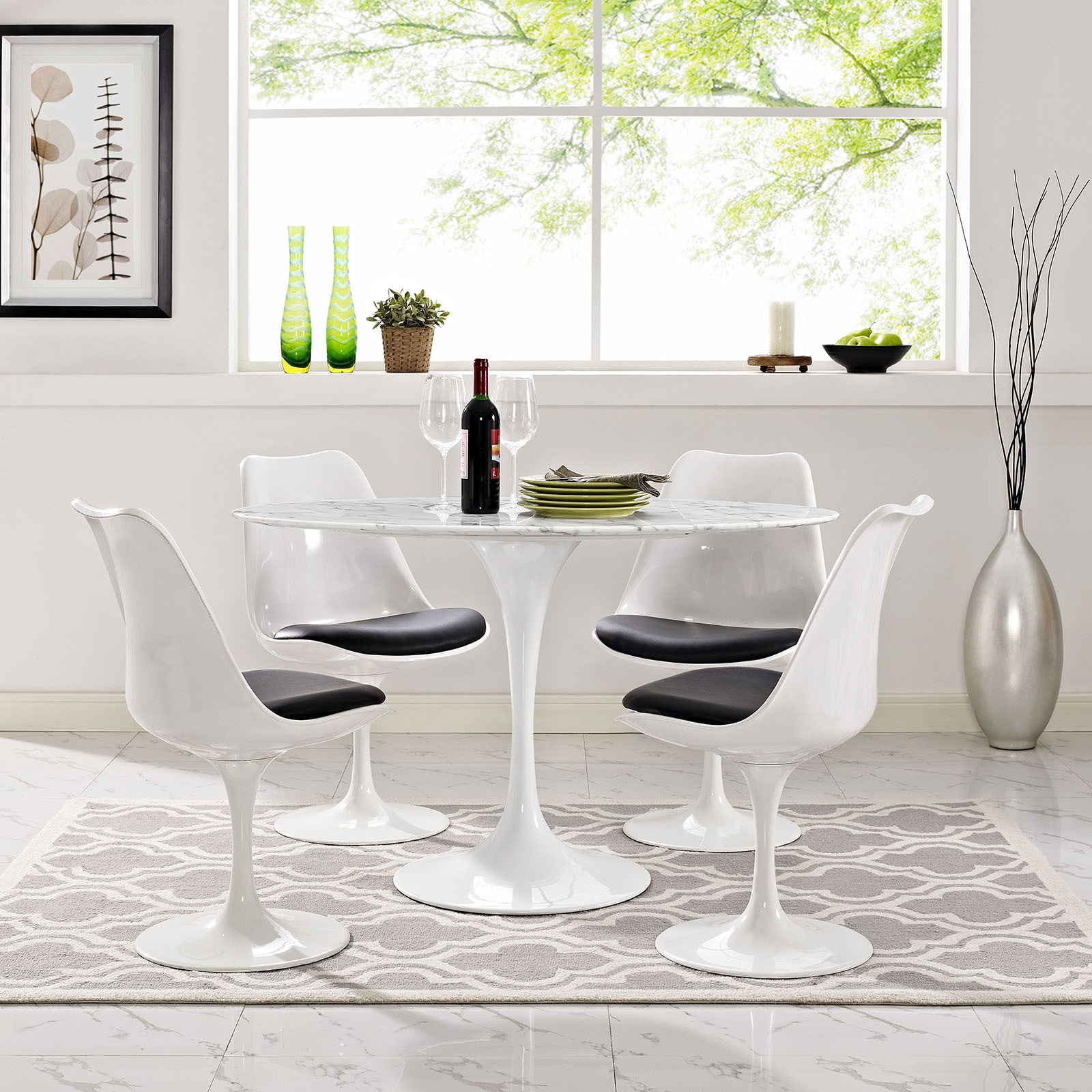 Lippa 48 Oval Shaped Artificial Marble Dining Table