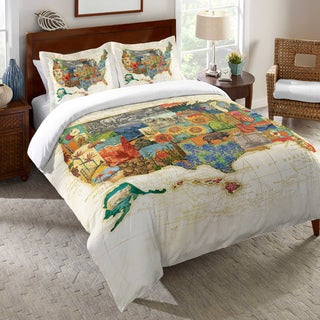 US Travel Map Duvet Cover