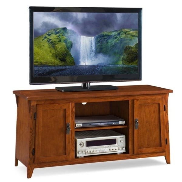 Mission Oak Two Door 50 Inch Tv Console With Open Component Bay