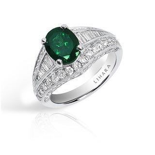 Lihara and Co 18K White Gold Tsavorite and 1 1/3ct TDW Diamond Ring (G-H, VS1-VS2)