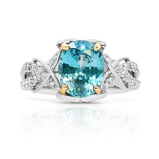 Lihara and Co 18k White and Yellow Gold Blue Zircon and 3/4ct TDW Diamond Ring (G-H, VS1-VS2)