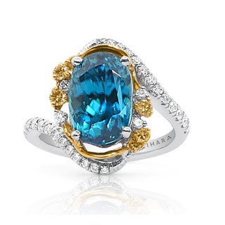 Lihara and Co 18k Two-tone Gold Blue Zircon and 1/2ct TDW Diamond Ring (G-H, VS1-VS2)