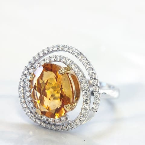 Lihara and Co 18k Two-tone Gold Citrine and 1/2ct TDW Diamond Ring Pendant (G-H, VS1-VS2)