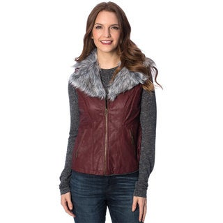 Women's Removable Faux Fur Collar PU Vest