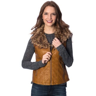 Live A Little Women's Cognac Removable Faux Fur Collar PU Vest