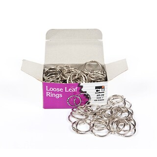 (2 BX) Charles Leonard Loose Leaf Book Rings, 1-inch, 100/box