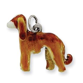 Versil Sterling Silver Enameled Afghan Dog Charm
