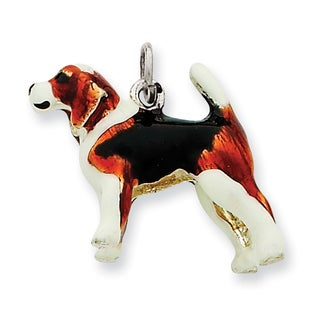 Versil Sterling Silver Enameled Beagle Charm