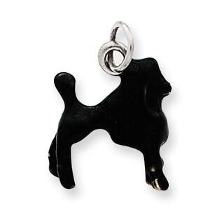 Versil Sterling Silver Enameled Black Poodle Charm