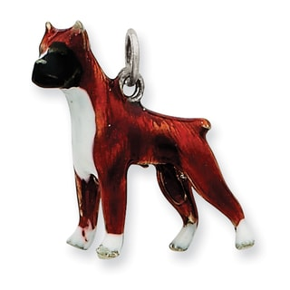 Versil Sterling Silver Enameled Boxer Dog Charm