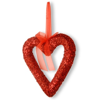 Red Bead Glittered Valentine Heart