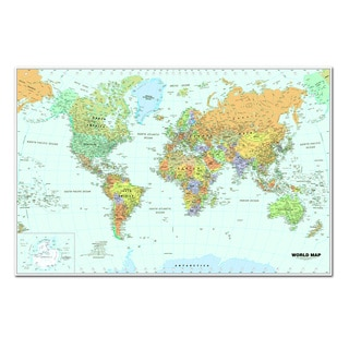 World Laminated Map, 38-inch x 25