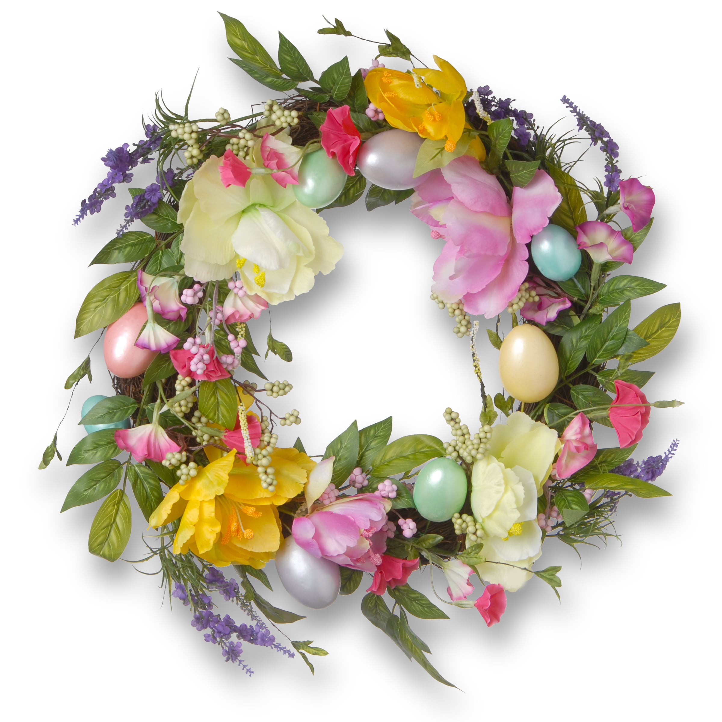 National Tree 20-inch Tulip and Easter Egg Wreath (Multi)...