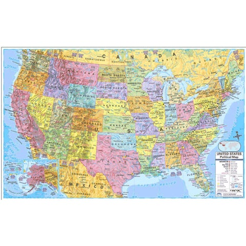Combo Laminated 40 x 28-inch U.S. and World Wall Map
