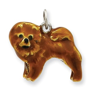 Versil Sterling Silver Enameled Chow Dog Charm