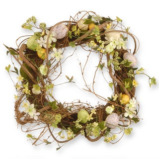 18-inch Floral Vine Easter Wreath with Eggs and Berries