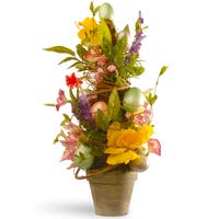 20-inch Floral Easter Topiary with Tulips and Eggs