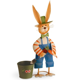Metal Rabbit with Blue Pants and Pot