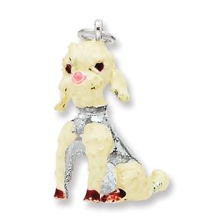 Versil Sterling Silver Enameled Large Poodle Charm