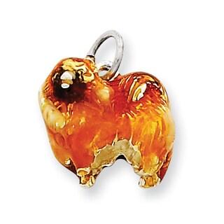 Versil Sterling Silver Enameled Pekingese Charm