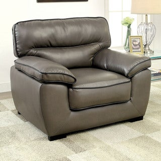 Furniture of America Scottie Contemporary Grey Leatherette Chair