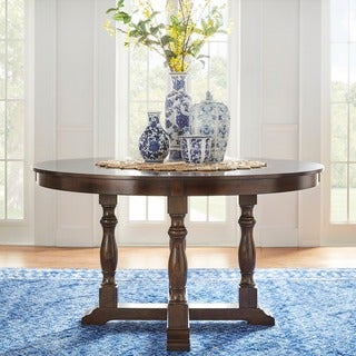 TRIBECCA HOME Flatiron Burnished Dark Oak Finish Round Dining Table